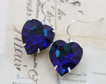Heart Earrings Bermuda Blue Heart Jewelry Wedding Love Anniversary Gift For Her Bridesmaids Earrings Silver Earrings Dangle Earrings Blue