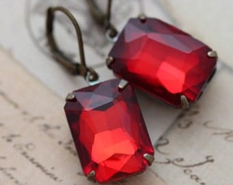 Red Earrings Ruby Siam Rectangle Vintage Style Rhinestone Glass Antique Brass Clip Ons Available