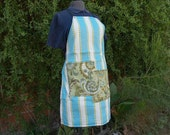 Turquoise apron, blue stripes, paisley green, polka dots, woman's or men's full bib