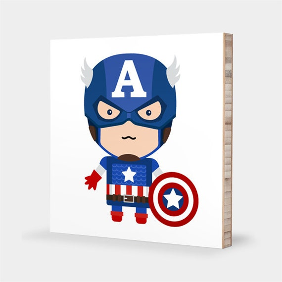A for captain america abc block bamboo wall art by Captain america wall decor