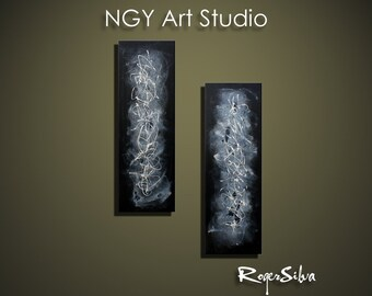 "NGY  24""  x  36"" R. Silva Original Modern Abstract Contemporary Fine Art Painting"