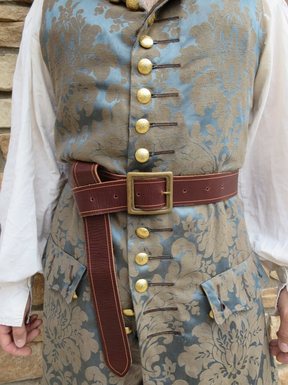 leather pirate belt brown brass buckle by castawaytradingco