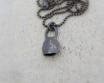 Black Oxidized Necklace - Sterling Silver Bell Pendant - Black Pendant - Rustic Silver Pendant