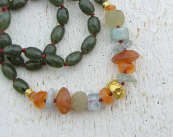 Gemstones & Solid Gold Necklace - 24k Gold Necklace - Colorful Necklace