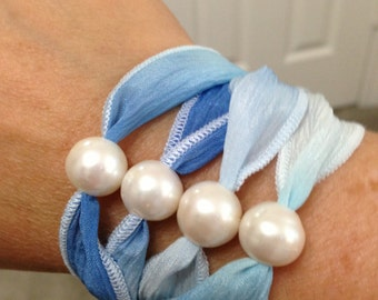 PEARLS and SILK RIBBON Bracelet/Necklace/Anklet