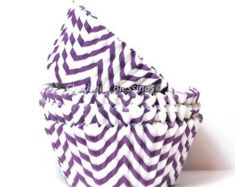 Cupcake Liners, Purple Chevron Cupcake Liners, Buy One Get One Free Purple Zig Zag Baking Cups, Chevron Cupcake Cups, Wedding Baby Shower