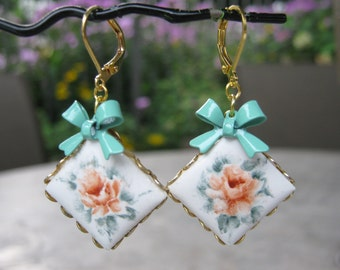Reclaimed Vintage Earrings, Mint, Green, White,Gold, Peach, Cameo, Flower, Leverback, Pierced, Gift Set, Enamel Bows, OOAK - Picture Perfect