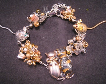 Reclaimed Vintage Bracelet, Silver, Gold, Cat, Mouse, Upcycled, Figural, Handmade, Kitty, Mice, Whimsy, Jennifer Jones, OOAK, Feline Friends