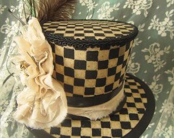 "The ""Kait"" Hat, Steampunk, Shabby Chic, Victorian, Halloween, Alice in Wonderland, Mini Top Hat"