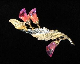 Vintage PARK LANE Brooch - Pink Lucite Brooch w/ Floral Leaf Design