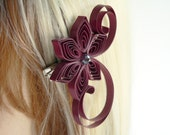 Marsala Wedding Hair Clip, Maroon Wedding Hair Accessory, Wine Wedding