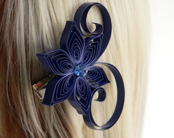 Blue Bridal Hair Fascinators, Sapphire Blue Wedding Hair Clip, Sapphire Wedding Hair Accessory