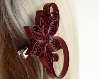 Cinnamon Brown Wedding Hair Clip, Cinnamon Wedding Hair Accessory