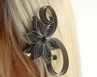 Latte Brown Wedding Hair Clip, Latte Wedding Hair Accessory, Stone Wedding