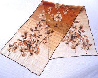 Sale 25% Off Use Coupon Code SAVE25 // Long Chiffon Scarf Sepia Toned Roses and Cosmos Vintage 60s