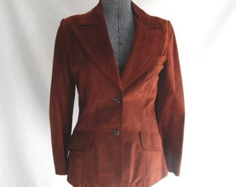 Sale 25% Off Use Coupon Code SAVE25 // Suede Jacket in Red Rust Size Medium Vintage 70s