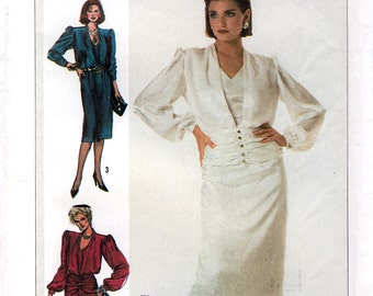 Simplicity 7215 Vintage 80s Misses' Dress in Two Lengths Sewing Pattern - Uncut - Size 14 - Bust 36
