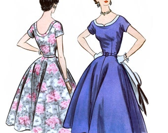 McCall's 3255 Vintage 50s Misses' Dress Sewing Pattern - Uncut - Size 14 - Bust 32