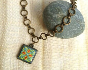Gold-Plated Brass Circle Chain, With Original Tile, Catalina, Mexican and California Arts and Crafts Inspired Necklace