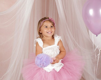 Beautiful NB to 2t Mauve Tutu Headband and wand Set SEWN