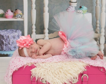 Cotton Candy Colored Newborn to 2t Tutu Rose set SEWN