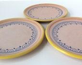 Hand Painted Italian Italy Yellow Blue Pottery Plates