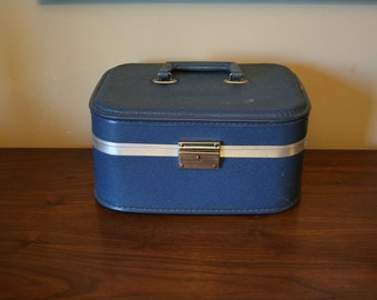 Blue Overnight Suitcase - Hard Shell Vanity Case - Mid Century Train Luggage - Photography Prop or Make Up Case