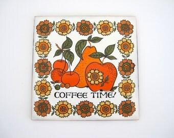 Vintage Ceramic Trivet Tile Hot Pan Coffee Time Kitchen Decor Orange Fruit