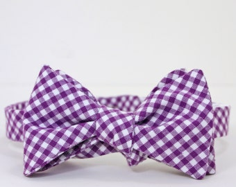 Purple Gingham Mens Bow Tie