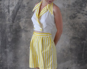 1950s Yellow Striped Play Suit: shorts halter top