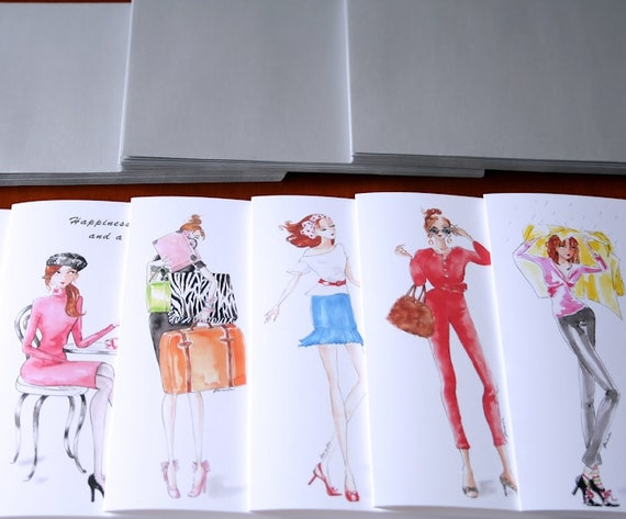 U Pick 5, Greeting Cards, Fashionista, Card Collection, Fashion Illustration, Gifts for Her, Stylish, Art, Cute, Whimsical, Custom Selection