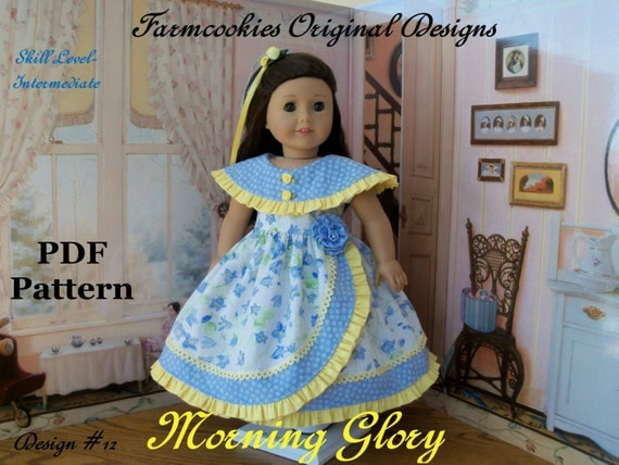 "PDF Sewing Pattern for American Girl Doll / Morning Glory  /  Sewing Pattern for 18"" Dolls"