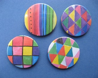 Shapes buttons or magnets set of 4 38mm