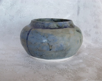 Blue Green Planter - Pot - Home Decor Ceramic Vessel