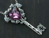 Baroque Purple Heart Key Necklace