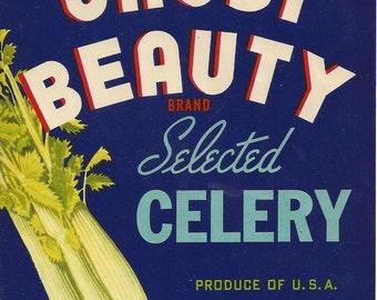 Orosi Beauty Celery Vintage Crate Label, 1950s