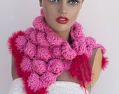 Free Shipping Etsy Christmas Bubble Cowl Pink Neckwarmer  Gift for her under 50