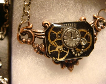 Victorian Style Steampunk Necklace with Watch Part Gears and Tiny Pocket Watch (1376)