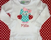 Personalized Monogrammed Boutique Valentines Owl or Love Birds with Heart Applique Girls Shirt