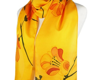 Cherry Blossom Amber Orange Silk Scarf. Hand Painted. Extra Long. 72 inches. Spring Bloom Scarf. Modern. Japaneese. Flowers. Floral Scarf.