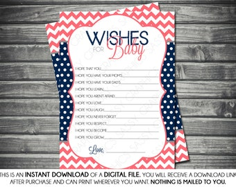 Instant Download Girl Wishes for Baby Card - Chevron, Polka Dot, Pink, Coral, Navy Blue, Printable, Digital