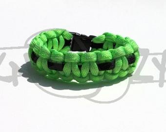 Monster Energy Inspired 550 Paracord Survival Strap Bracelet Anklet w/ 3/8  Plastic Contoured Side Release Buckle Black Green