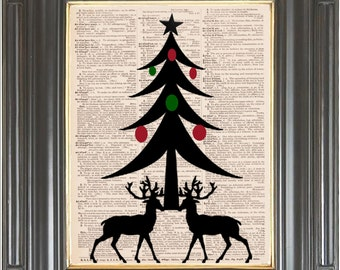 Christmas Deer Tree wall decor print on dictionary or music page Dictionary art print Red green Digital art print Holiday decor Item No. 371