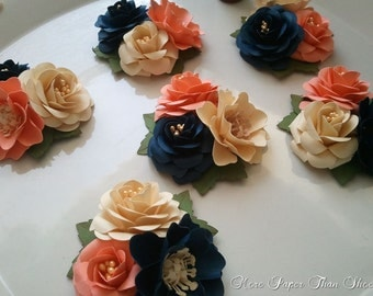 Paper Flower Corsages - Boutonnieres - Weddings - Bridal Shower - Baby Shower - Coral and Navy - Nautical - Made To Order