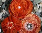 NEW SALE Orange Fabric Petaloo Expressions Collection Assorted Layered Flowers(3 Pcs) for scrapbooking cardmaking craft embellishments