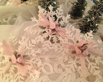 Shabby roses snowflake ornaments pink roses bows set of three Victorian chic