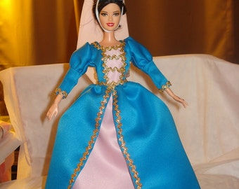 Handmade Repunzel style dress and hat set blue and pink Satin for Fashion Dolls - ed419