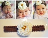 Baby Girl Cream Felt Flower with Brown Lace Headband