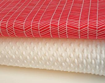 """Minky Blanket Kit in Joel Dewberry Herringbone in Pink, Complete Kit to Make a Baby Blanket (28""""x34"""") PDF Pattern Included"""