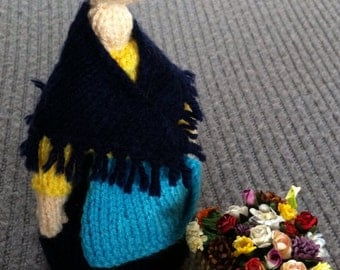 Trumpton knitted doll: Mrs Cobbit and her flower basket